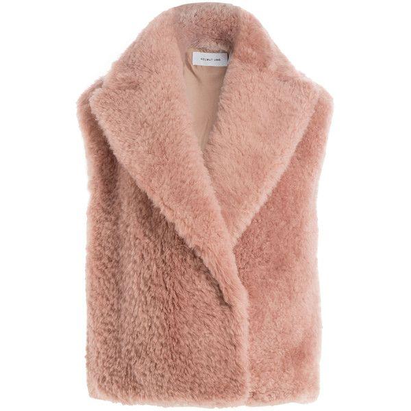 Helmut Lang Shearling Vest (€1.310) ❤ liked on Polyvore featuring outerwear, vests, jackets, rose, vest waistcoat, sheep fur vest, helmut lang vest, beige vest and shearling vest