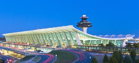 1988 AIA National Twenty-five Year Award Recipient- Dulles International Airport Terminal Building in Chantilly, Virginia; designed by Eero Saarinen and Associates
