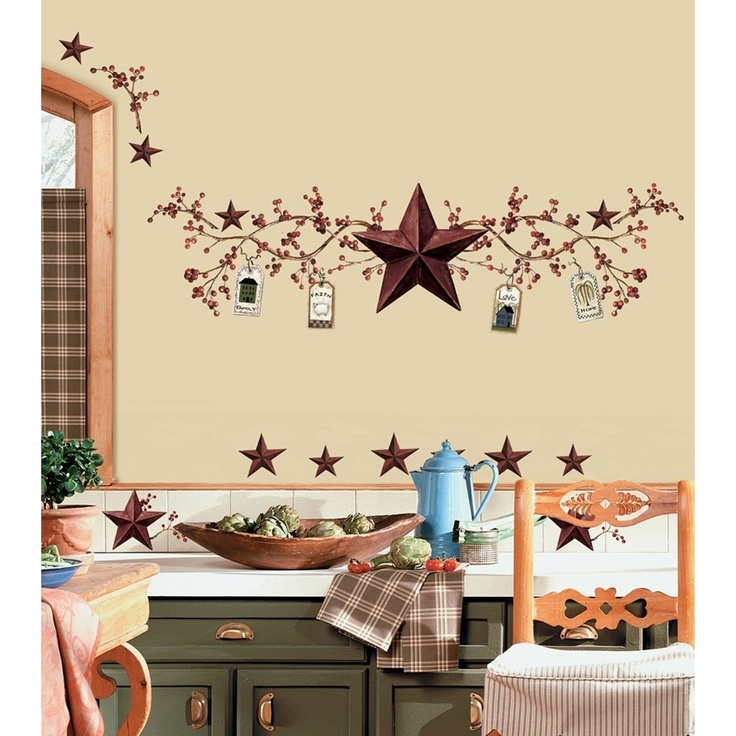 New STARS & BERRIES WALL DECALS Country Kitchen Stickers