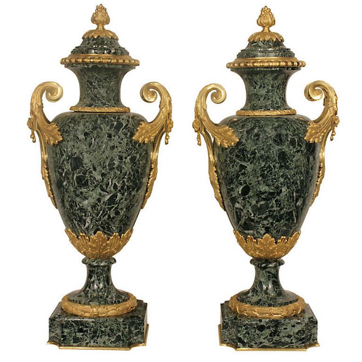 A Pair Of French Mid 19th Century Louis XVI Style Solid Vert Patricia Marble and Ormolu Lidded Urns