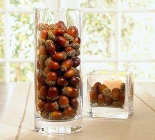 Autumn Decor - Acorns In A Vase