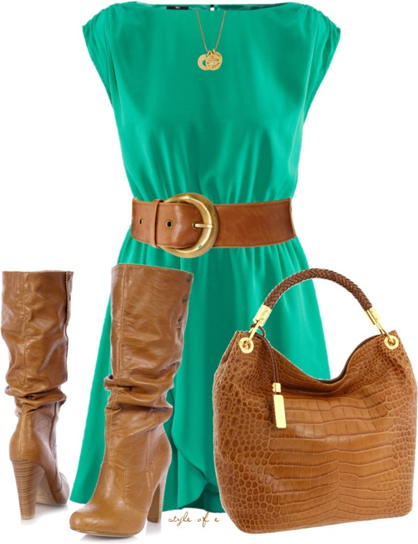 """""""Green Dress"""" by styleofe on Polyvore  use navy blue with my lt. tan boots and belt"""