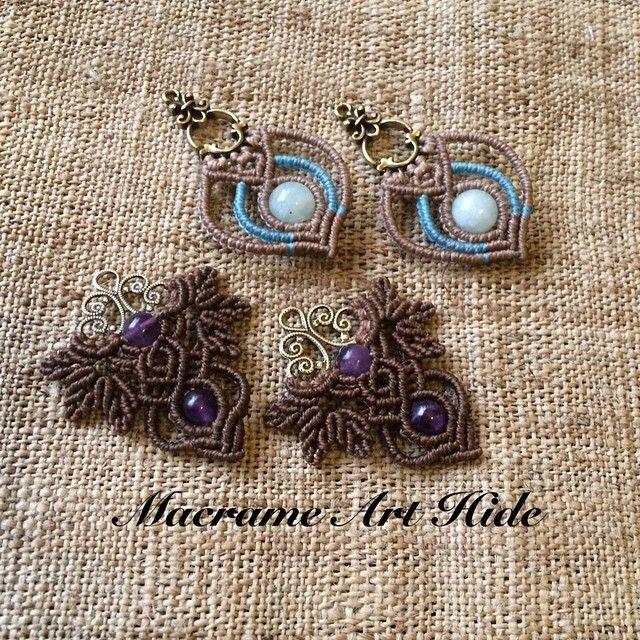 アクアマリンとアメジストのピアス!! パーツを使ったバージョン!! #macrame#ピアス#earrings #Fashion#イヤリング#ファッション #天然石#gemstone #パワーストーン#ハンドメイド#アクセサリー#accessories#aquamarine #amethyst #アクアマリン#アメジスト