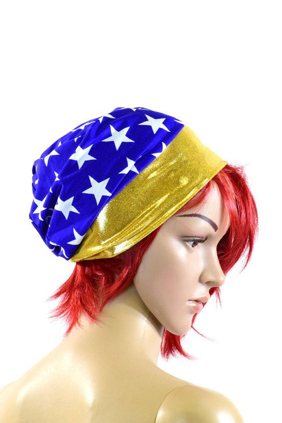 Superhero Blue and White Star Print Beanie Hat with Gold Band Stretchy Rave Festival Cap  -151144