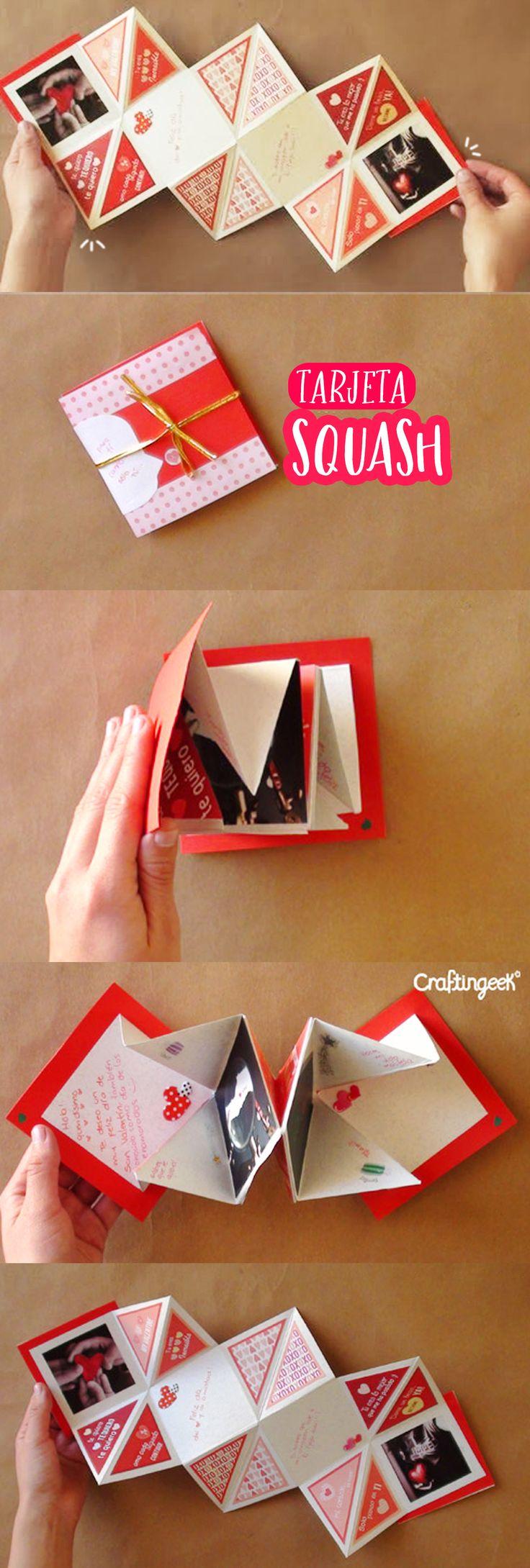 Te enseño cómo hacer paso paso una linda y fácil tarjeta squash perfecta para cualquier regalo de San Valentín para tu novio o novia ¡te va a encantar!