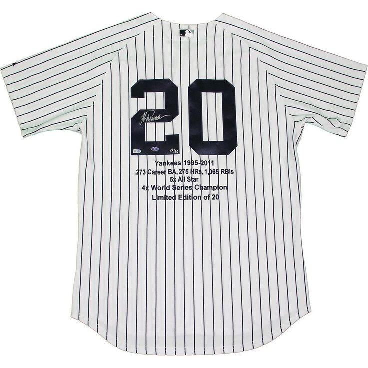 Jorge Posada Signed New York Yankees Authentic Home Jersey w Embroidered Stats (LE20)(MLB Auth)