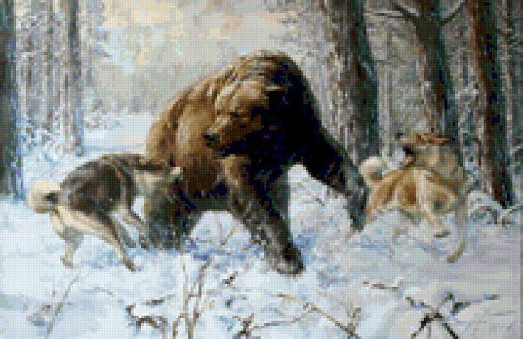 Охота на медведя - Схемы вышивки - сима - Авторы - Портал «Вышивка крестом»