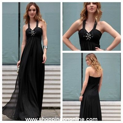 Black Evening Gown - Halter Floor Length $210.00 (was $248) Click here to see more details http://shoppingononline.com #BlackEveningGown #BlackEveningDress #BlackDress #CustomMadeDress