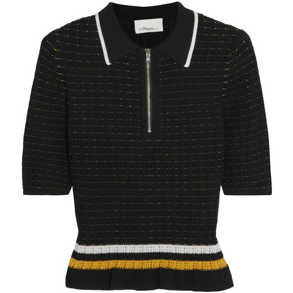 3.1 Phillip Lim Striped smocked stretch-cotton top ($375) ❤ liked on Polyvore featuring tops, black, smock top, stripe top, 3.1 phillip lim top, zipper top and 3.1 phillip lim