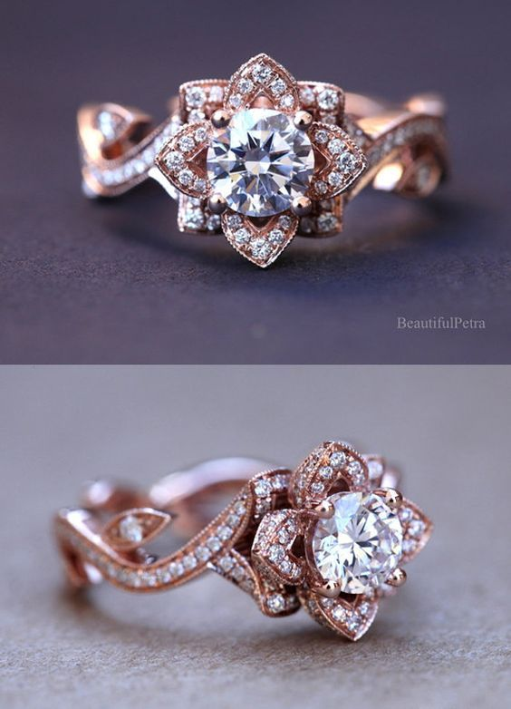 15 Stunning Rose Gold Wedding Engagement Rings that Melt Your Heart | http://www.tulleandchantilly.com/blog/15-stunning-rose-gold-wedding-engagement-rings-that-melt-your-heart/: