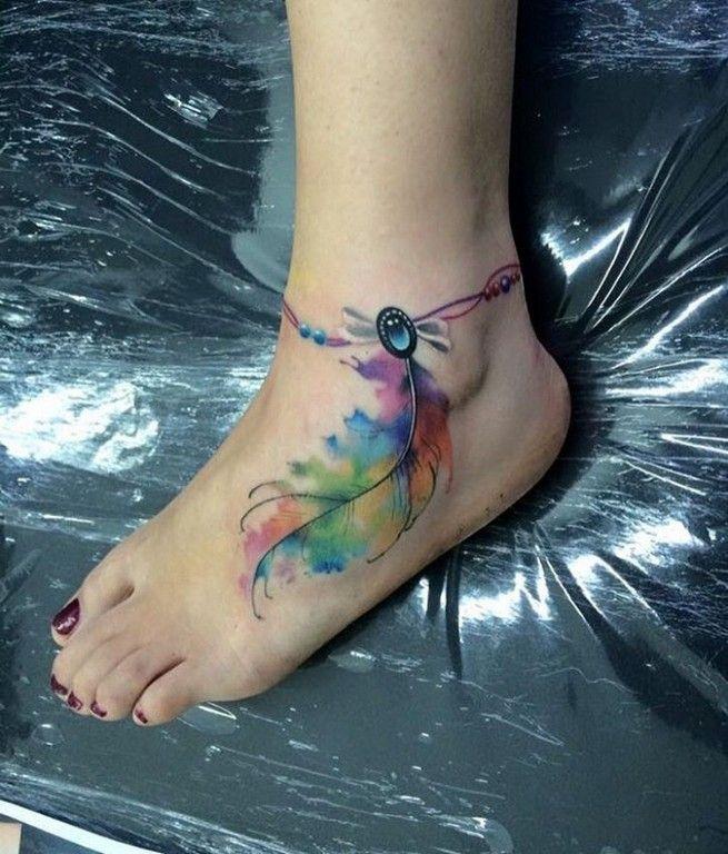 2243657e9 15+ Beautiful Watercolor Feather Tattoo Ideas | Tattoos for Women ...