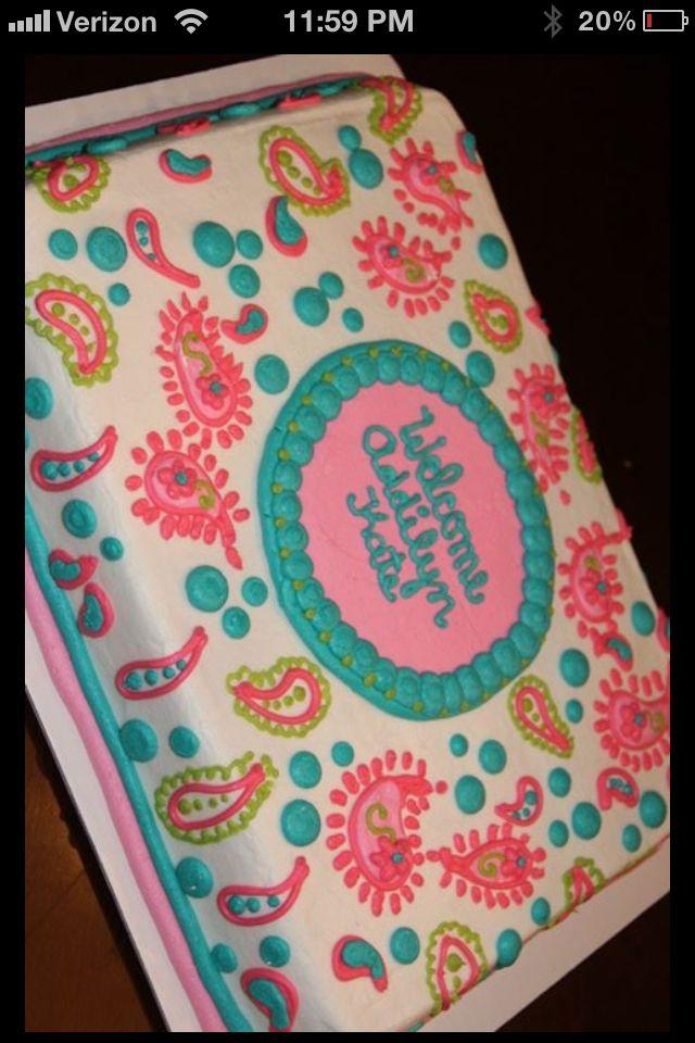 Paisley baby shower cake