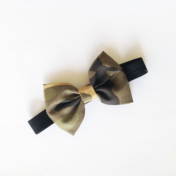 Baby Bow Headband Camo Bow on Black elastic by alittleladyshop
