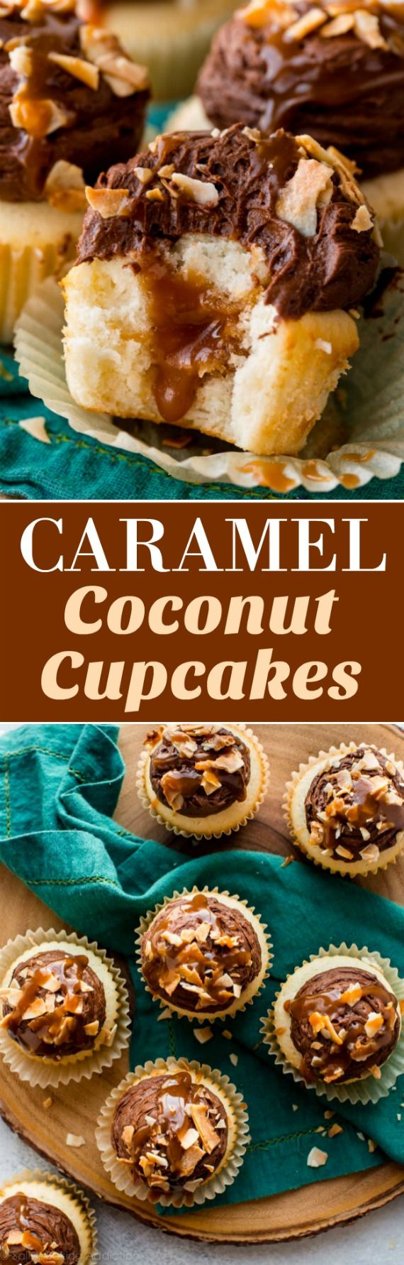 Chocolate caramel coconut cupcakes with salted caramel filling, milk chocolate frosting, and fluffy coconut cupcakes! Recipe on sallysbakingaddiction.com