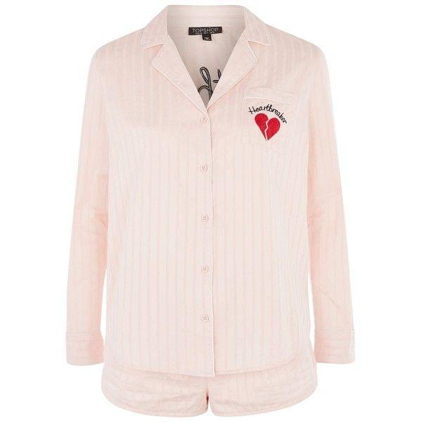 Topshop Embroidered Heartbreaker Pyjama Set ($44) ❤ liked on Polyvore featuring intimates, sleepwear, pajamas, pink, cotton pajama set, long sleeve pajama set, cotton pjs, long sleeve sleepwear and pink sleepwear