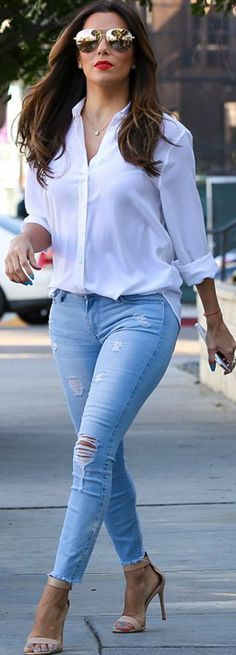 Eva Longoria's gold aviator, white long sleeve top, ripped blue skinny jeans, and nude sandals?
