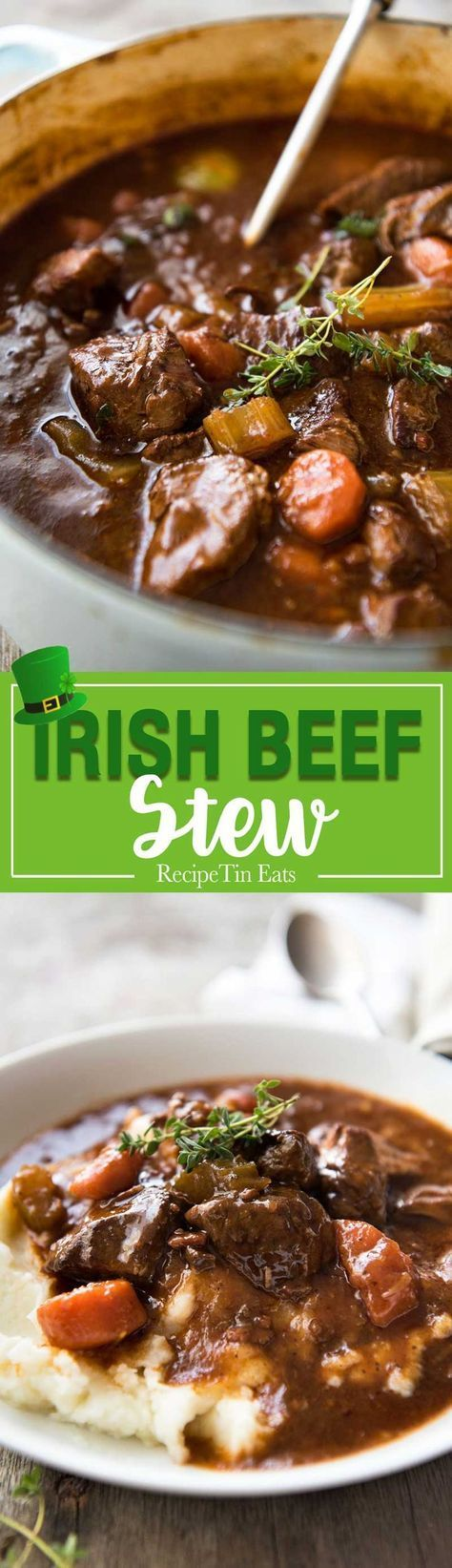 Irish Beef and Guinness Stew - The king of all stews! Fork tender beef in a rich thick sauce. Easy to make, just requires patience! Slow cooker, stove, oven and pressure cooker directions provided. www.recipetineats...