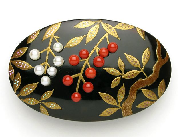 red coral and pearl brooch