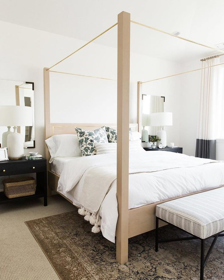 A beautiful #neutral custom canopy bed by @millbrookfurniture! :@travisj_photo # via @studiomcgee