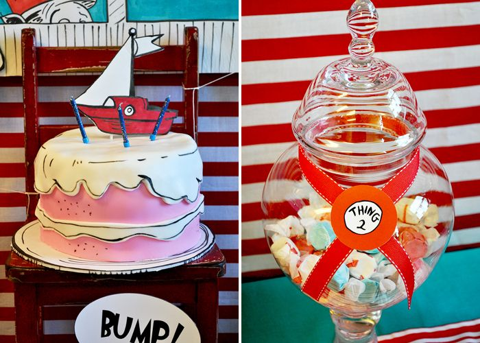 Dr. Seuss cake. Love the use of edible marker. #party: Edible Markers, Amy Atlas, Birthday Parties, Hats Parties, Desserts Features, Seuss Cakes, Sweet Design, Guest Desserts, Parties Decor
