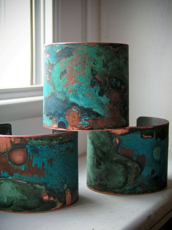 Purple Patina & Verdigris Copper Cuff  Small by ssdjewelry