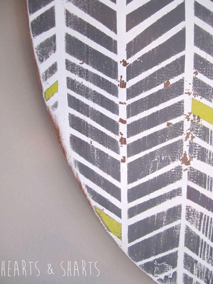 A plain board goes from boring white to Handmade Herringbone wall art