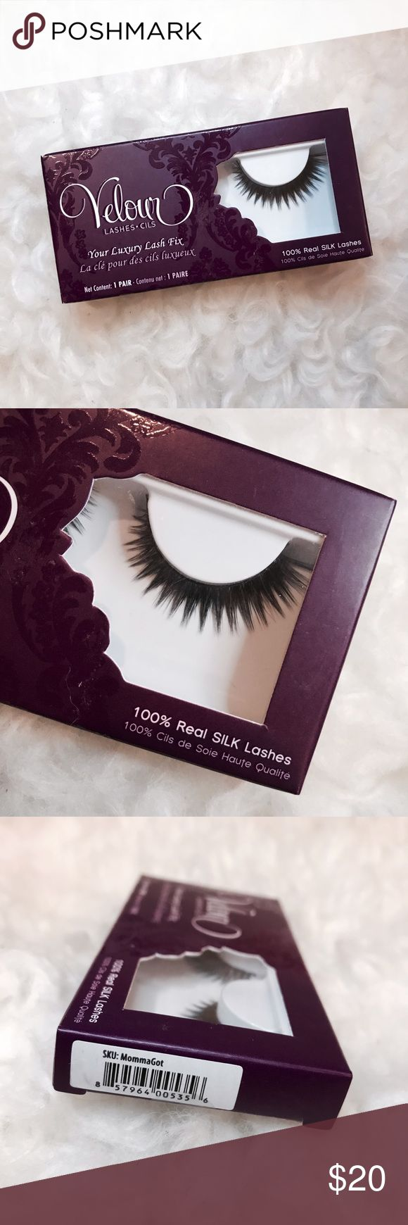 Velour Lashes Momma Got Lash Silk Lashes BRAND 🆕 IN BOX!!! Velour Lashes Momma Got Lash Silk Lashes  • Work what your momma gave you! This natural lash just adds that perfect amount of volume to give your eyes that boost. Made with the finest silk material, all Velour lashes are 100% hand made and super luxurious, comfortable and long lasting!   - 100% SILK Lashes provides the most natural looking lashes - Long Lasting: On average 20 Applications per lash!!! - Hand-made cotton thread band…