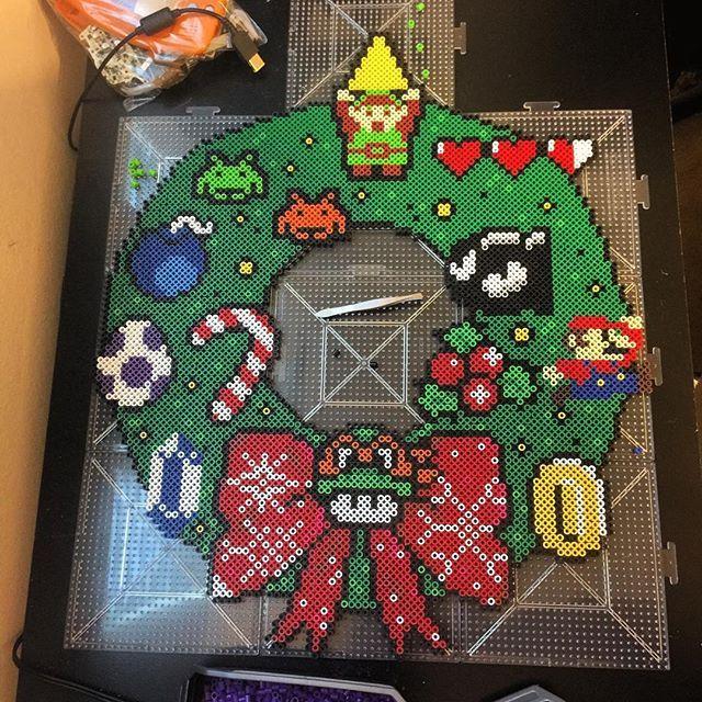 Video game Christmas wreath perler beads by manintanvan