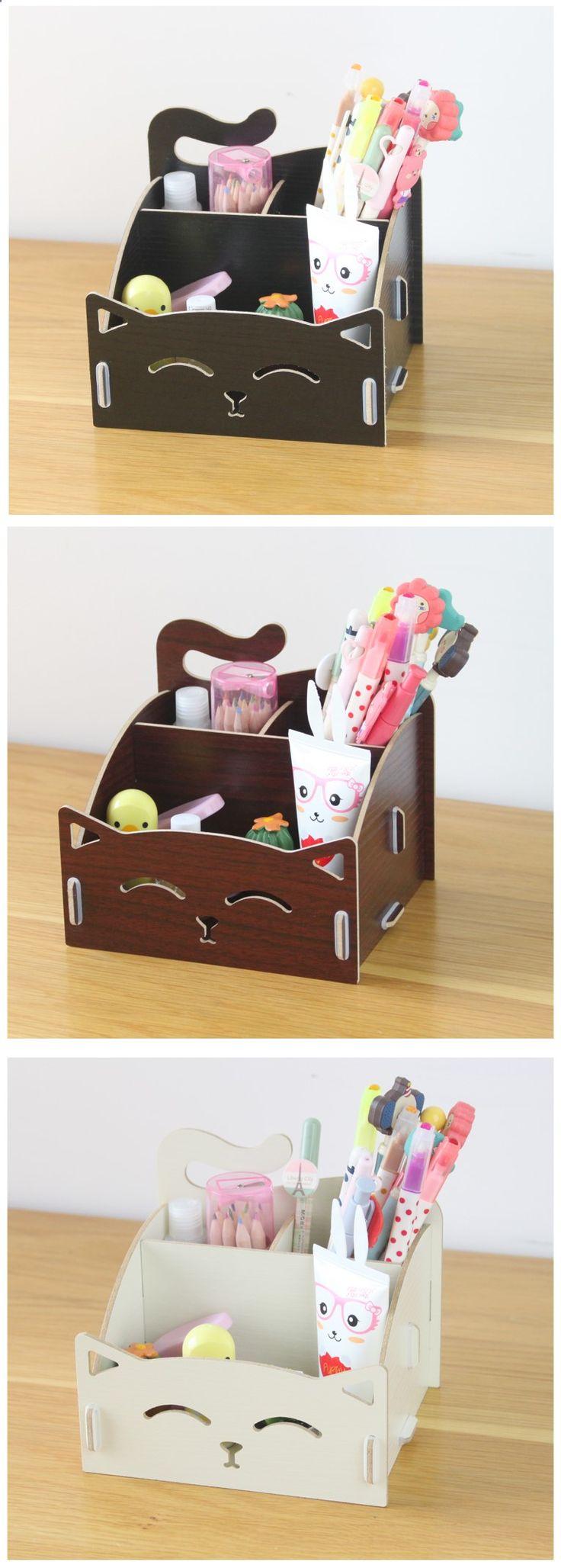 Criativo de madeira caixa de armazenamento de cosméticos caneta notas gato DIY acessórios de escritório organizador caixa em Ciaxas de armazenamento & lixo de Casa & jardim no AliExpress.com | Alibaba Group
