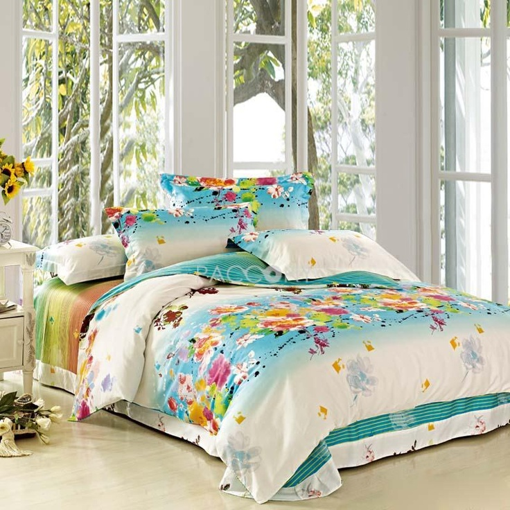 Nature Spring Colorful Flower Green Cotton 4 Piece Full Queen King Size