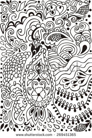 Рисованной каракули узор для кружева пейсли можно использовать для обоев,Восточная этническая племенной орнамент, узор заливки, фон веб-страницы, поверхностных текстур. Векторные иллюстрации.