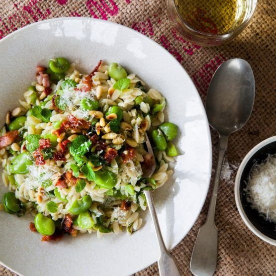 Broad Bean and Mint Risoni with Crispy Bacon by Nadia Lim   NadiaLim.com