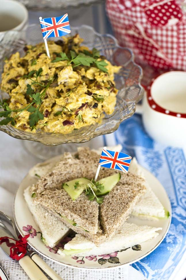 Jubilee Chicken. Coronation Chicken with an exotic touch by adding light Greek yoghurt and fresh coriander.
