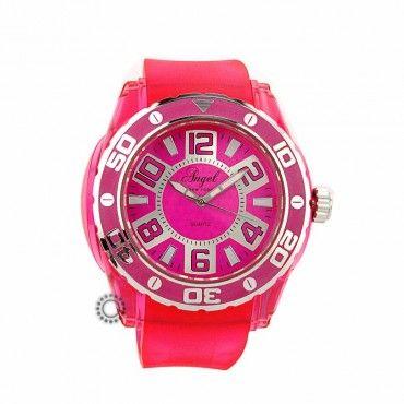 AP.1252.P - Γυναικείο ρολόι quartz ANGEL από ροζ πλαστικό και ροζ καουτσούκ. Εγγύηση 2 ετών της επίσημης αντιπροσωπείας. Αποστολή εντός 2-3 ημερών #angel #φουξια #σιλικονη #γυναικειο #ρολοι