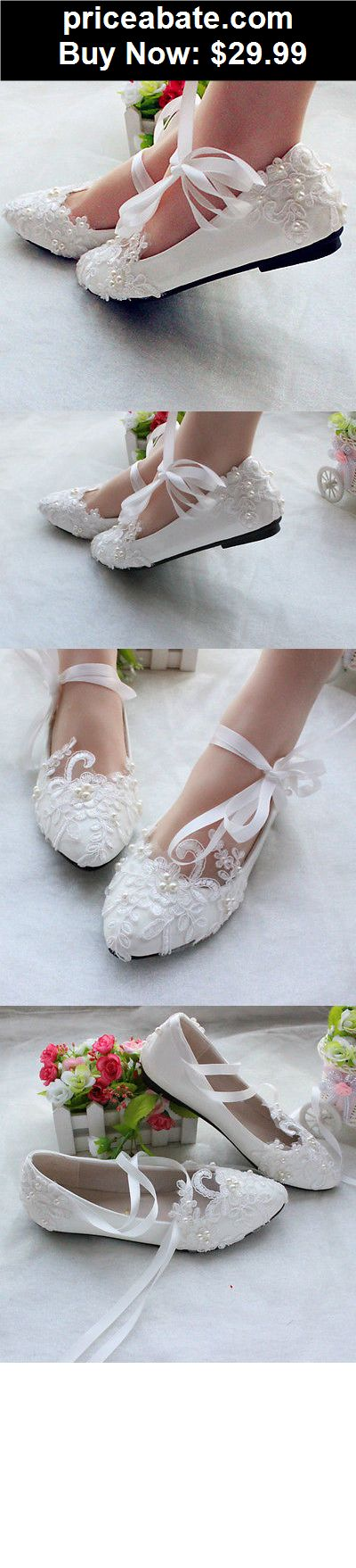 Wedding-Shoes-And-Bridal-Shoes: White lace stain strap Wedding shoes pearl Bridal flats low high heels size 6-10 - BUY IT NOW ONLY $29.99