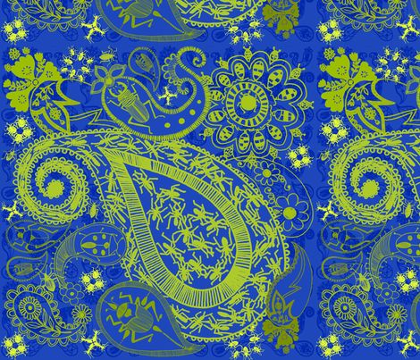 Bug Paisley in blue and lime green fabric by mollymacliving on Spoonflower - custom fabric