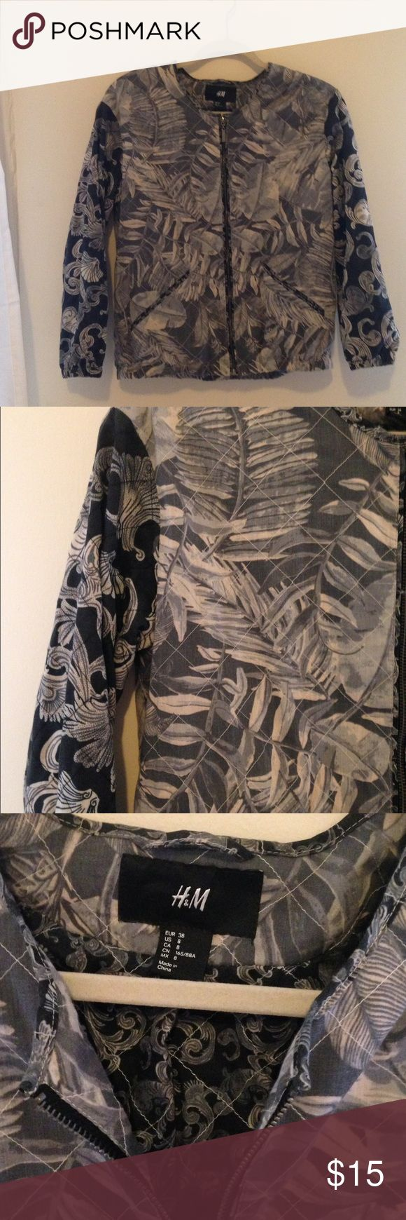 H&M printed bomber jacket size 8 Mixed print bomber jacket with quilted stitching detail. H&M Jackets & Coats