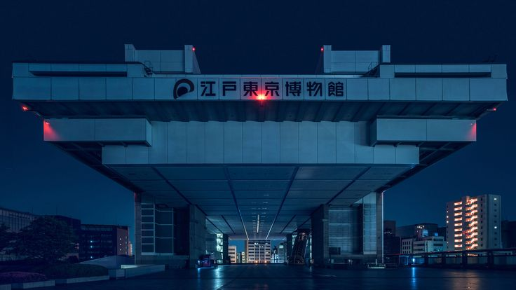 "Tom Blachford waited until night to capture photographs of Tokyo's metabolist buildings, which he says look as though they are from ""distant future""."