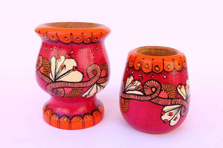 Toma mate y avivate! - Flores (fuxia y naranja), $90 en http://ofeliafeliz.com.ar