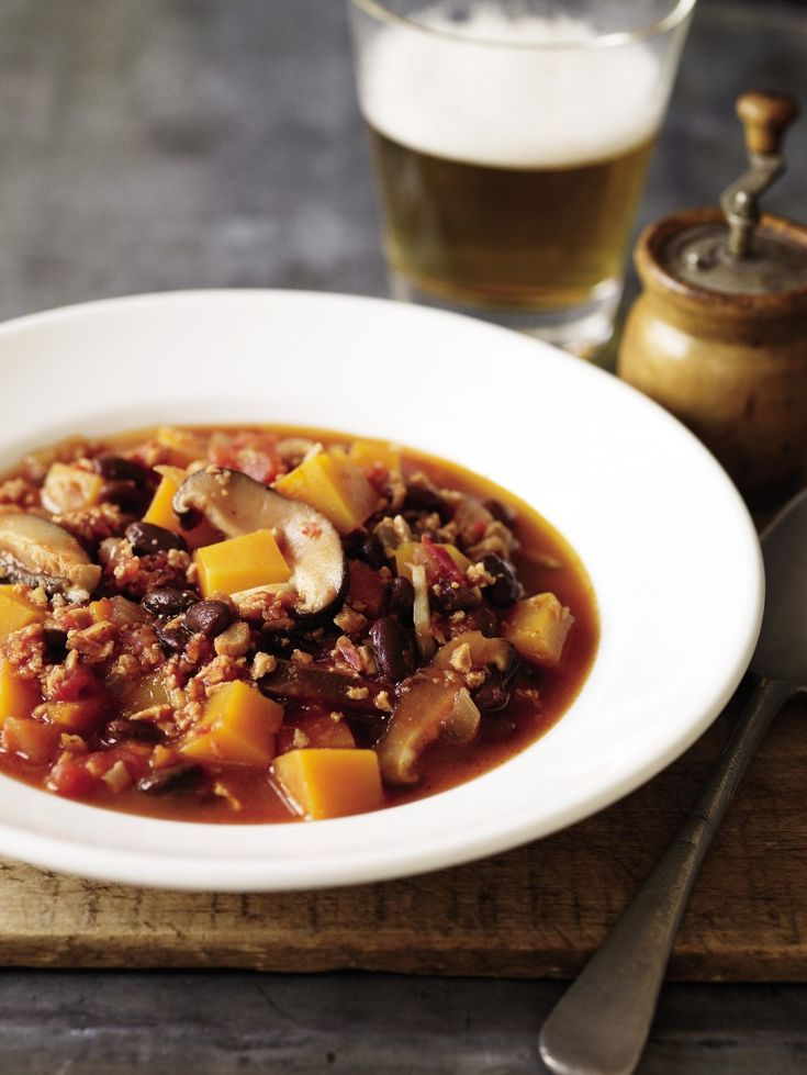 Looking for a meatless protein boost? Try out this recipe for high protein vegetarian chili by The Rodale Whole Foods Cookbook which uses black soybeans and texturized vegetable protein found in na...