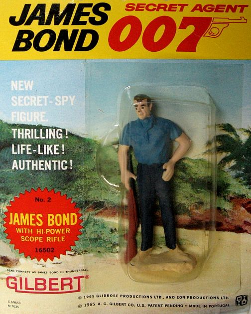 "Original 1965 James Bond ""with Hi-Power Scope Rifle"" Action Figure, by Gilbert. From the great James Bond 007 craze of the '60's comes this AUTHENTIC 1965 figure of ""James Bond"", 007's himself, holding a rifle as he appeared in the classic thriller ""Thunderball""! MINT ON SEALED CARD!! These Gilbert action figures and some of the toys and playsets they came out with in the same time period were among the FIRST OFFICIALLY-LICENSED JAMES BOND TOYS! Only one in stock. $75.00"