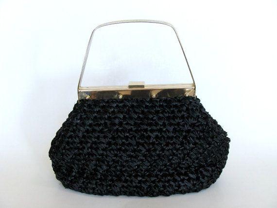 Black Raffia Straw Handbag Tote Purse Marcus Brothers by Spartinas, $28.00