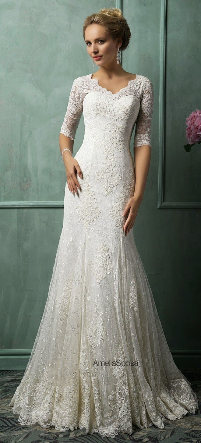 This is it....this is exactly what I've wanted in a dress...lace, 3/4 sleeve, this neckline so I can wear the pearls Allen bought me, and especially the back...this is the dress I want! amelia-sposa-2014-wedding-dresses-1382330859_full.jpg (640×1600)