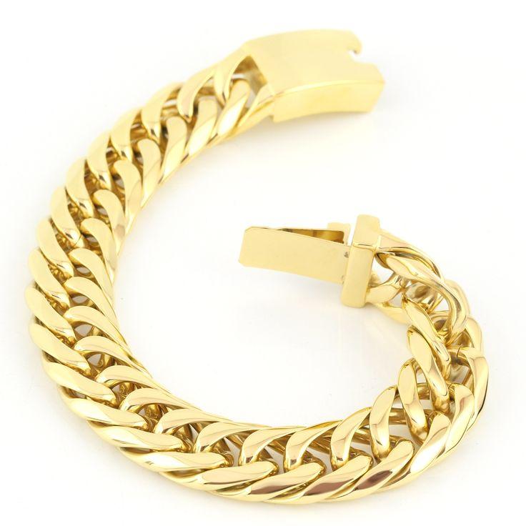 bracelet men Fashion 15mm wide men's bracelet gold bracelet stainless steel chains bracelet for men
