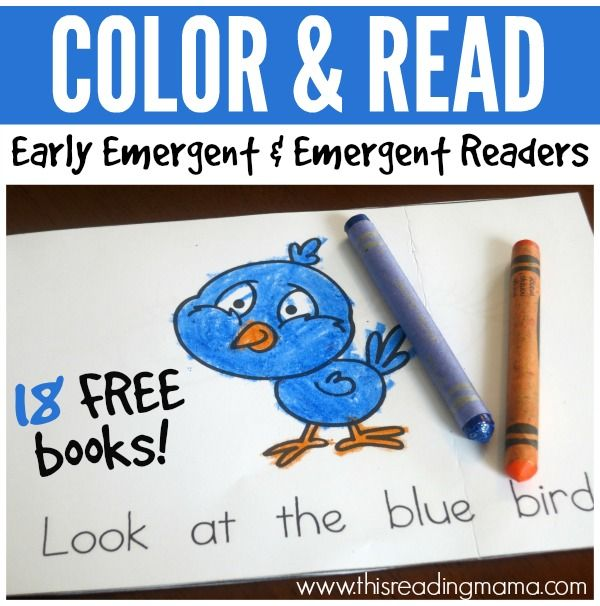Color and Read Books - 18 FREE Printable Early Emergent and Emergent Readers.  #kindergarten