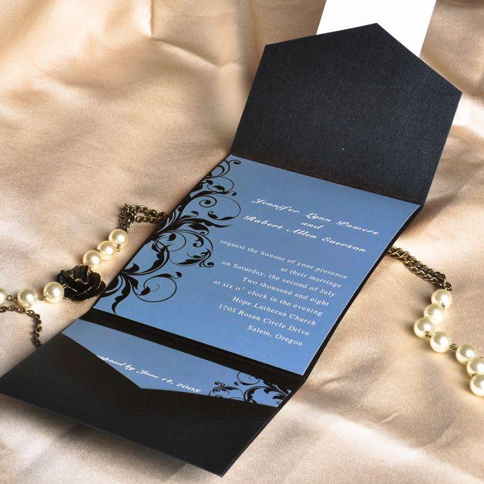 vintage dusty blue and black damask cheap pocket wedding invitations EWPI014 as low as $1.69