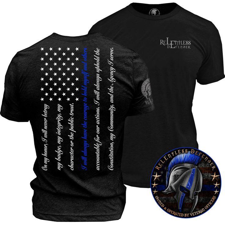 Blue Line flag oath of honor t-shirt