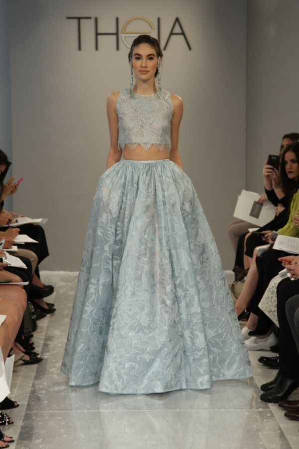 Theia Blue Crop-Top Dress...More beautiful details to recreate.Ask your seamstress for fabric suggestions to achieve that ultimate bridal look.