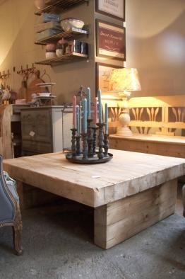 Maisondupont-Geweldige robuuste massief houten salontafel