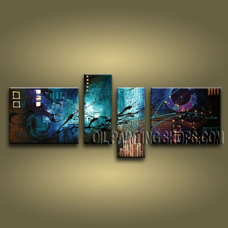 Stunning Modern Abstract Painting Oil Painting On Canvas For Living Room Abstract. This 4 panels canvas wall art is hand painted by A.Qiang, instock - $155. To see more, visit OilPaintingShops.com